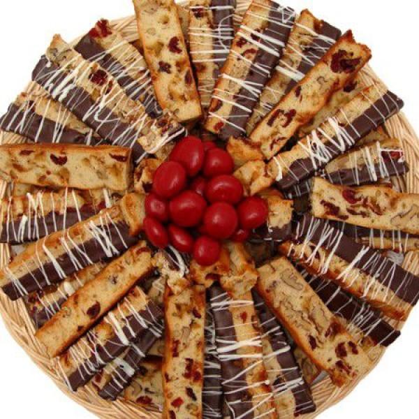 Chocolate Dipped Cherry Biscotti Tray 6610