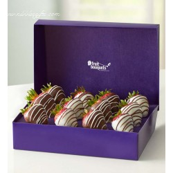 12 Chocolate Dipped & Drizzled Strawberries